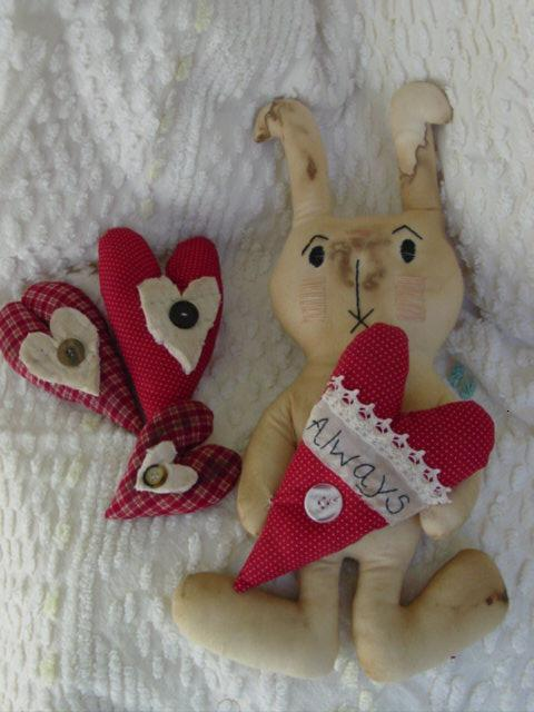 Valentine bunny and hearts