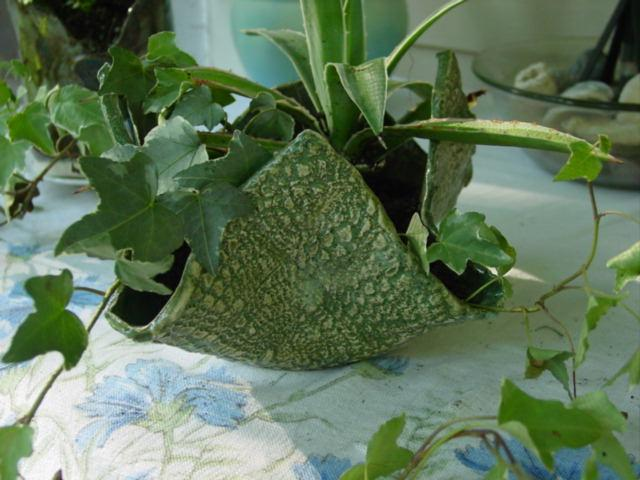 Green pottery plant pot 2
